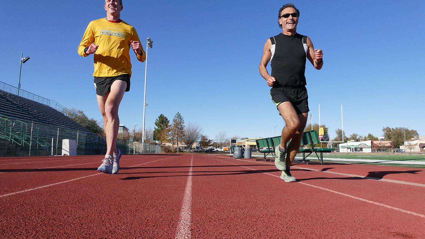 Running speed workout at Stoker Stadium in Grand Junction, Colorado. Mesa Monument Striders