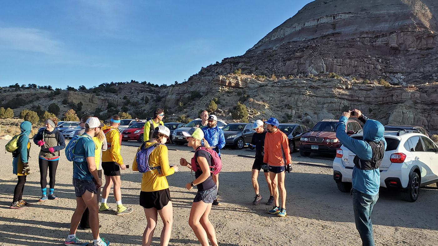 Runners at the start of the trail race from Grand Junction to Whitewater, Colorado